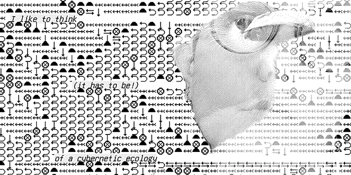 A glitched-out bird overlaid on a choatic field of plain text arrows and symbols. Scattered phrases such as 'of a cybernetic ecology' emerge from the background.