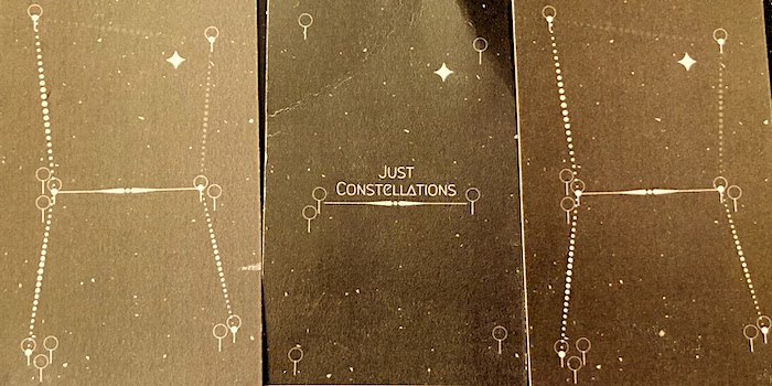 Three slides illustrating a connection between stars forming in 'Just Constellations.'